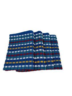 "Tea Kitchen Dish Towels Royal Blue Check Design-Thick-20"" X"