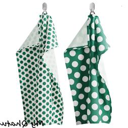 IKEA Dish Towel 2 Pack Kitchen Towels White Green Circles pa