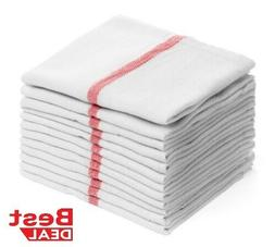 Dish towels Pack Absorbent White Cotton RED Striped 15 x 25""