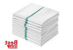 Dish towels 12 Pack Absorbent White Cotton GREEN Striped 15