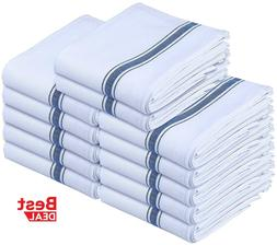 Kitchen Dish Towels White with Blue Stripe 15 x 25 100% Cott