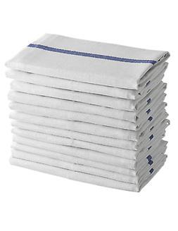 Dish Towels 12 White Cotton Blue Striped 15 x 25 Kitchen Tea