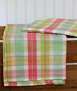 Dishtowel Pink Aqua Blue Spring Green Plaid Kitchen Towel DI