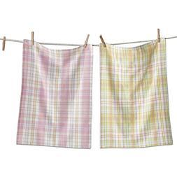 Tag LTD Dishtowels Dish Cotton Cloths Plaid Pastels Plaid Se