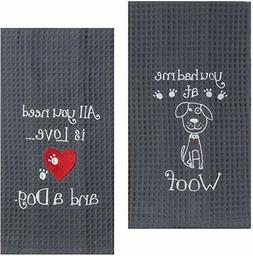 Kay Dee Dog Lover Embroidered Waffle Towel Set - One Each Yo