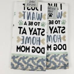 Dog Mom Kitchen Dish Towels Funny Saying Puppy Paw Prints 10
