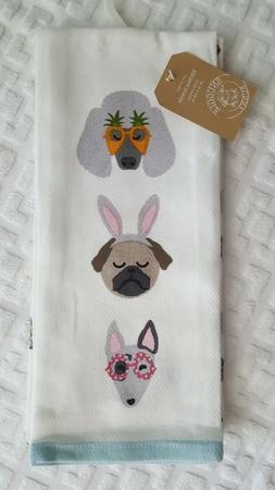 Dog Pug Frenchie Poodle Snuggle Bunny White Kitchen Towels 2