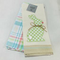 Easter Bunny Applique Plaid Oversized Cotton Dishtowel Kitch