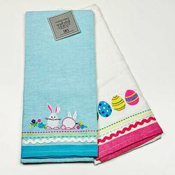 Easter Bunny Bunnies & Eggs Embroidered Applique Kitchen Tow