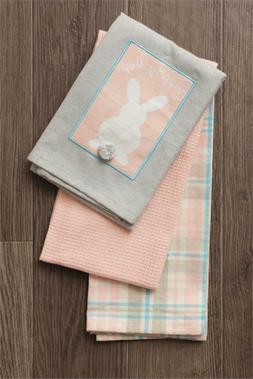 Easter Bunny Rabbit Tea Towel Hippity Hop Pastels Farmhouse