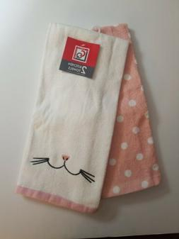 Easter Bunny Kitchen Towels Set Of 2 Pink