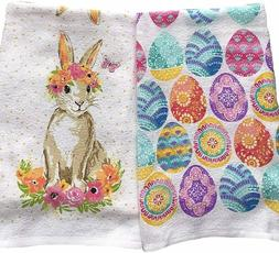 Easter Day Kitchen Towels Set of 2 Beautiful Bunny Rabbit an