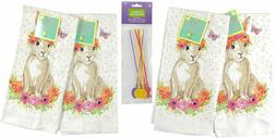 Easter Spring Kitchen Dish Towels, 4 Pc. Set: Brown Hare Rab