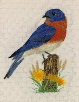 Eastern Bluebird Bird Embroidered White Kitchen Terry Waffle