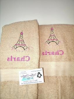 Eiffel Tower Paris Personalized Hand Towels Paris Bathroom P