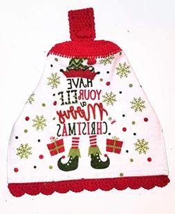 Elf Merry Christmas Crochet Top Hanging Kitchen Towel with D