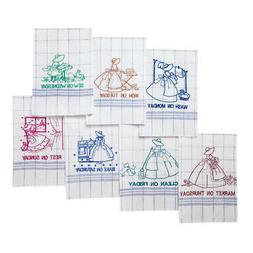 Embroidered 7 Days Of The Week Dish Towels, White