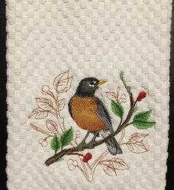 Embroidered American Robin Bird White Kitchen Terry Waffle W
