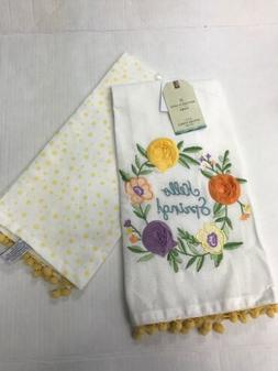 Embroidered Artisan Home Luxe Kitchen Tea Towel Set Of 2 Yel