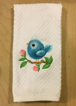 Embroidered Cute Baby Spring Blue Bird Pink Flowers White Ki