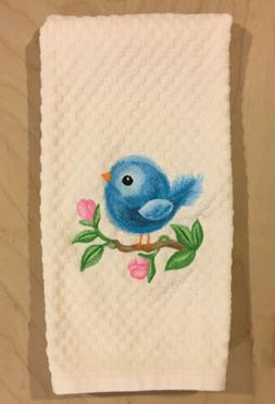 Embroidered Cute Baby Spring Blue Bird Pink Flowers on Ivory