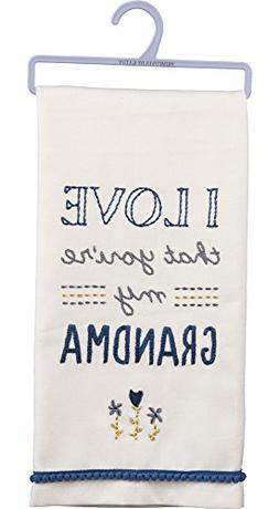 Primitives by Kathy 33132 Embroidered Dish Towel, I Love Tha