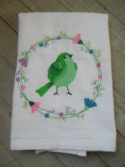 Embroidered White Bar Mop Kitchen Towels GREEN BIRDS in FLOR