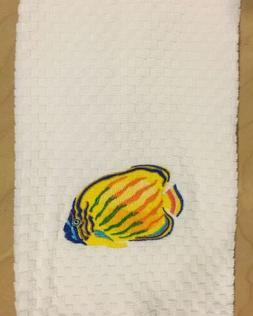 Embroidered Yellow Orange Blue Green Fish Ocean Beach White