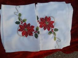 embroidery holiday christmas tea towels kitchen table decor