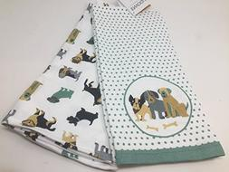 Envogue Set of Two Kitchen Dish Towels - Dogs - Green