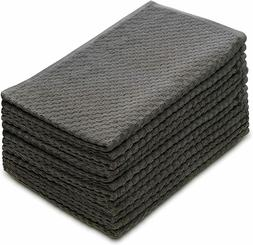 COTTON CRAFT Euro Cafe Waffle Weave Terry Kitchen Towel CHAR