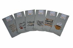 Fall and Harvest Kitchen Dish Towels Set of 6 Tea 15 x 25 Th
