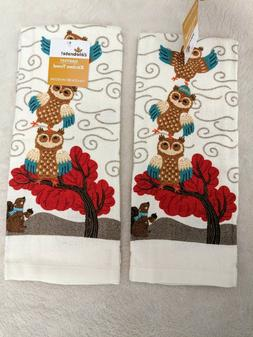 Fall Autumn Woodland Owls with Squirrel Kitchen Towels Potho