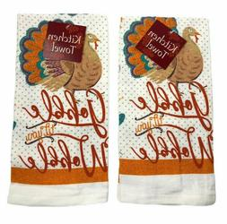Fall Kitchen Dish Towels Cotton Thanksgiving Turkey Gobble T