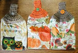 Fall Kitchen/Hand Towels, Crocheted Top You Pick Design, Han