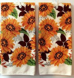 Fall Kitchen Towel Autumn Harvest Floral Sunflowers 2 Kitche