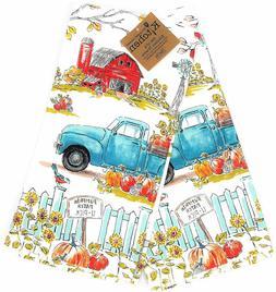 Kay Dee Designs Fall Market Pumpkin Blue Truck 2Pc Kitchen T