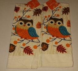 Fall Owl Kitchen Towel Set Leaves Owls 2pcs  Brown Teal Oran