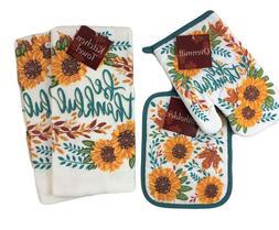 Fall Sunflowers 4 Piece Kitchen Set Dish Towels Potholder Ov