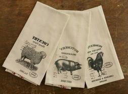 FARM ANIMALS Kitchen Tea Towels Retro 3 pc Primitive Feed Sa