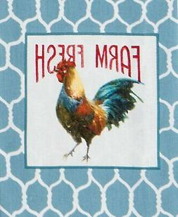 Farm Nostalgia Rooster and Chicken Wire Blue and White Kitch
