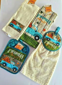 Farmers Market Kitchen Dishtowel Set 4 Pc Towels Potholder F
