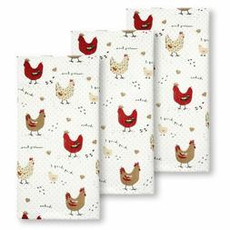Cackleberry Home Farmhouse Chicken Kitchen Towels 100% Cotto