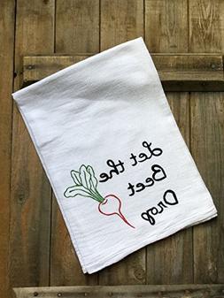 Farmhouse Kitchen Cotton Flour Sack Hand Dish Towel, Funny V