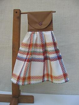 Farmhouse Plaid Hanging Kitchen Towel, Brown Orange Beige Pl
