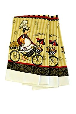 Set of 2 pc Fat French Chef on Bicycle Absorbent Microfiber