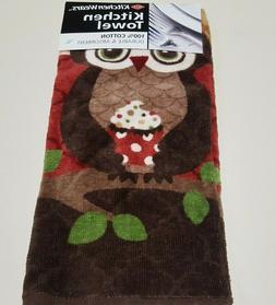 RITZ FIBER REACTIVE KITCHEN TOWEL OWL PATTERN BROWN AND RUST