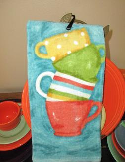 Ritz, Fiesta Colors, Painterly Tea Cups Kitchen Towel, Cotto