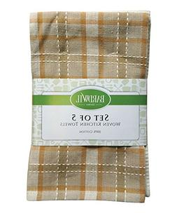 "Flat Woven 100% Cotton Kitchen Towel 16"" X 26"" Khaki"