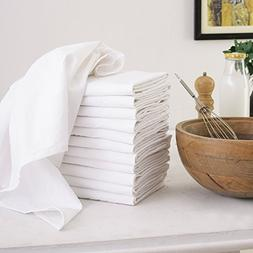 Flour Sack Dish Towels, Set of 12 , Multi-use White Kitchen